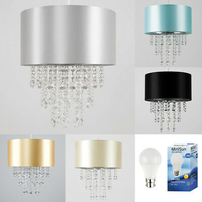 Modern 28cm Ceiling Pendant Light Shade Silk Fabric Lampshade Acrylic Droplets