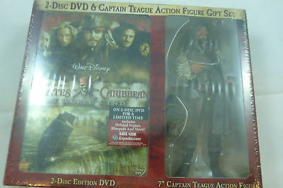 Pirates of the Caribbean DVD & Teague Action Figure Gift Set At World's End NEW