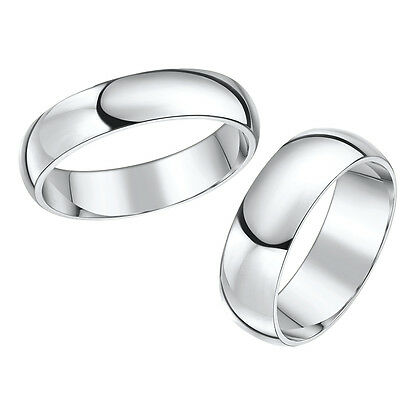 Palladium Wedding Rings Bands His & Hers D Shaped 3&5mm 4&6mm Wedding Rings Set