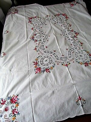 Vintage crocheted inserts Floral Embroidered Tablecloth White Cross stitch Rose