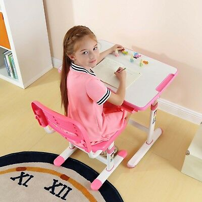 Height Adjustable Kids Table Chair Ergonomic Children Study Desk Tilting Desktop