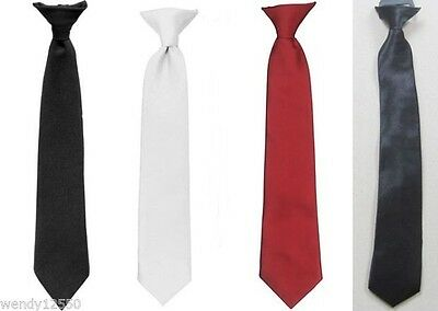 CLIP ON TIE, MEN'S, UNISEX, SECURITY, COSTUME, FUNERAL, BLACK, RED, WHITE (46cm)