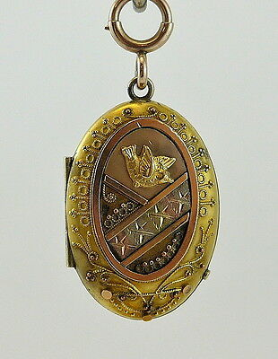 Authentic Victorian Three-tone Gold Filled Ladies Locket / Pendant