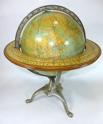 "Rare Pre-1914 ""Columbia"" 12-inch globe w Horizontal Zodiac Ring Like Rd McNally"