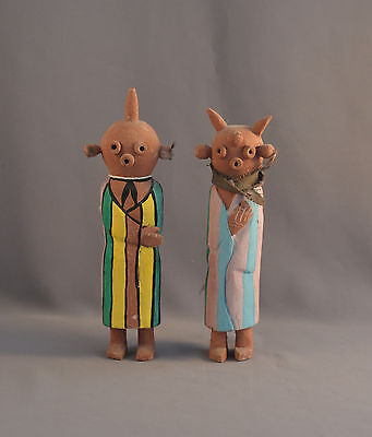 2 Rare Old Mud Head Hopi Indian Kachinas - Male Female Pair