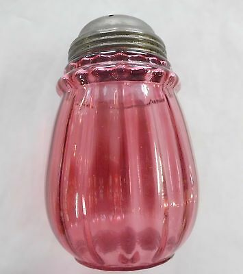"Hobbs 'Ring Neck Optic' 4 3/4"" Sugar Shaker, Cranberry -  1890's"