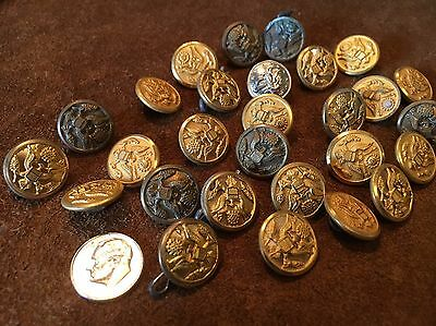 Lot of 28 Old Army Military Buttons Brass Antique Vintage Eagles Metal Superior