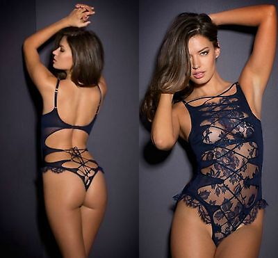 Ladies Blue Mesh Lace Teddy Bodysuit Lingerie Sleepwear 8 10 12 14 16 18 20 22