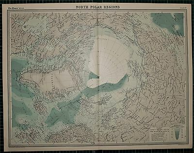 1921 Large Map ~ North Polar Regions Explorer Routes Greenland Franz Josef Land