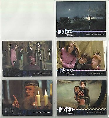 "2004 Harry Potter: Prisoner of Azkaban ""Complete Set"" of 5 Promo Cards (01-05)"