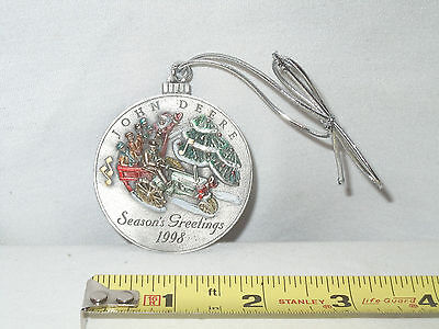 John Deere 1998 Season's Greetings Pewter Ornament  Mint Condition