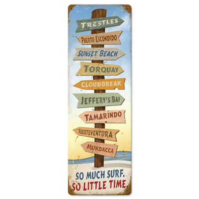 So Much Surf So Little Time Signpost Metal Sign Vintage Beach Decor 8 x 24