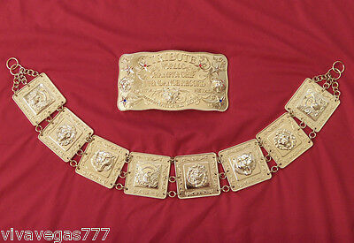 (New) ELVIS 18K Gold Plated (METAL BELT) Tribute Artist Costume (Jumpsuit Era)