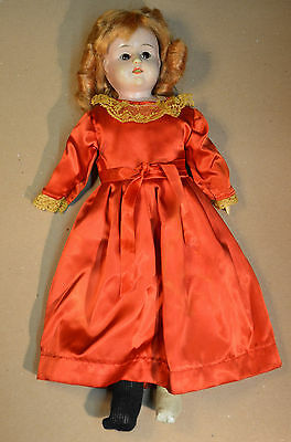 "Buschow & Beck Minerva Doll 1900's 17"" 43.2cm Tin/Oil Cloth Germany Antique"