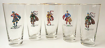"Libbey Set Of (5) Scottish Highlander Clan 6.5"" Tall Beer Drinking Glasses"