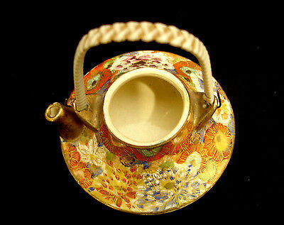 "3"" MARKED Koshida JAPANESE TAISHO THOUSAND FLOWER SATSUMA MINIATURE TEA POT"