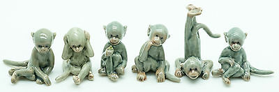 Figurine Animal Ceramic Statue 6 Gray Monkey - CWM003