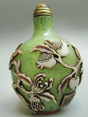 Chinese Peking Glass Carved Snuff Bottle -Bat Peach Guava