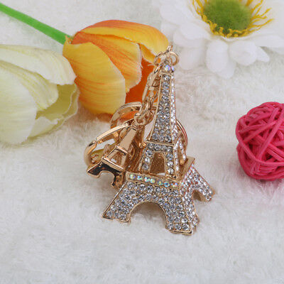 Diamante Eiffel Tower Charm Keychain Keyring Keyfob Bag Pendant Novelty Gift
