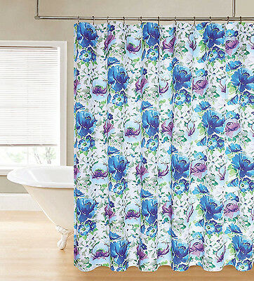 NWT WATERCOLOR FLORAL FABRIC SHOWER CURTAIN BATH DECOR 70x72 BLUE ...