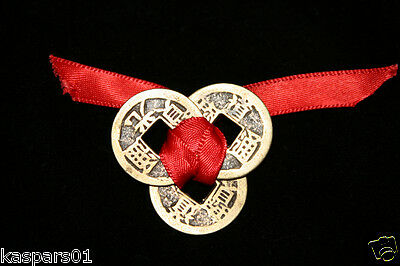 Feng Shui Lucky 3 Chinese Coins Tied With Red Ribbon: Good Luck And Wealth
