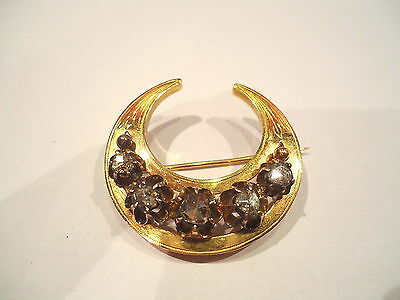 MAGNIFIQUE  BROCHE ANCIENNE OR 18K ORNEE DIAMANTS or 18 carats