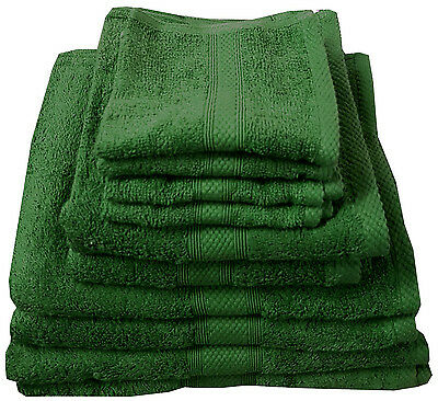 Bottle Green 500 GSM Egyptian Cotton Towels Luxury Combed Guest Hand Bath Stripe