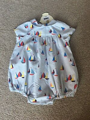 Little Bird By Jools Oliver Sailboat Peter Pan Collar Romper 0-1 Month Retro