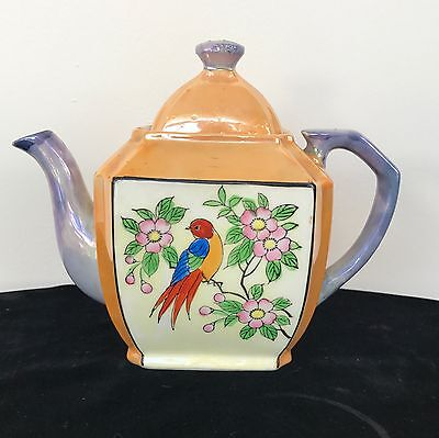Japan (5-petal blossom) Lusterware Teapot w/ Bird in Cherry Tree Hand Painted
