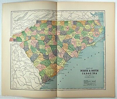 Original 1891 Map of North & South Carolina by Hunt & Eaton