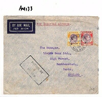 AM133 1939 WW2  MALAYA Penang to GB Herts Airmail Cover. Censor
