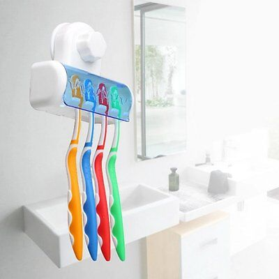 Home Bathroom Wall Mount 5 Toothbrush Spin brush Suction Holder Stand Rack CN