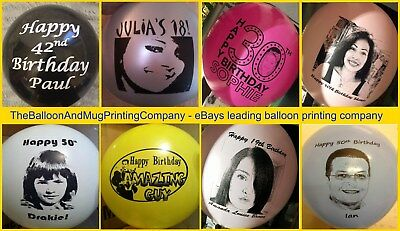 "250 Personalised Custom Printed Latex 12"" Balloons. 18th 21st 30th 40th Birthday"