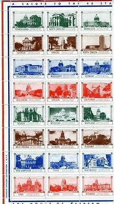 House of Seagrams 48 State Capitol Building Stamps 1950's