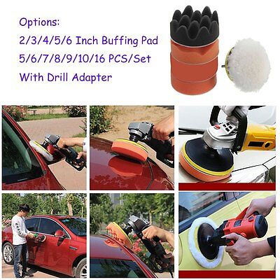 2/3/4/5/6inch Buffing Pad Auto Car Polishing Wheel Kit Buffer + Drill Adapter RE