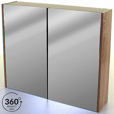 Large Double Door Bathroom Mirror Cabinet Storage Cupboard Unit Wall Mounted