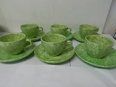Stangl Art Pottery Green Caughley Tiffany & Company Cup and Saucers, Set of 6