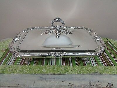 "Reed & Barton King Francis 3 QT Bake & Serve 19"" Buffet Server w/ Liner EXC 1668"