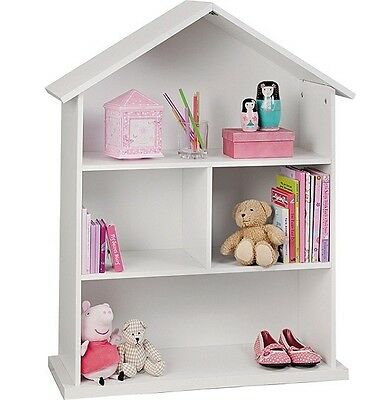 Doll House Bookcase Display Storage Shelves Childrens Room Furniture White