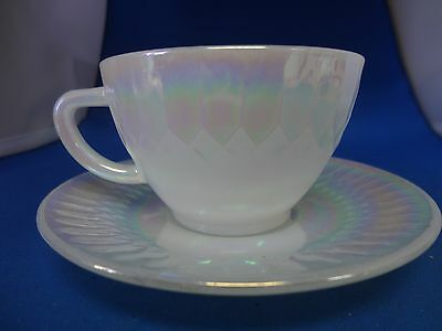 Federal Glass Moonglow White Pearl Iridescent Luster Cup & Saucer-11 Available