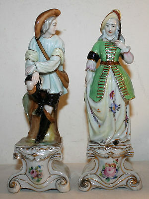 Fine Pair Of Old Paris  French Porcelain Figures Marks On The Base 19Th Century