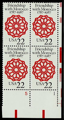 US #2349 22¢ Friendship With Morocco Plate Block MNH