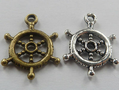 Free Ship 150pcs tibet silver and bronze plated steering wheel charms 20mm