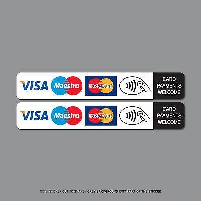 2 x Contactless Card Payments Accepted Sticker Taxi Shop VISA Mastercard SKU2510