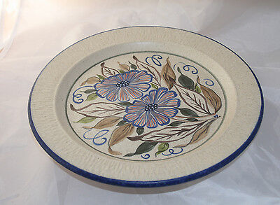 Vintage Purbeck Studio Pottery Dinner Plate Hand Made Floral
