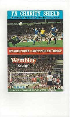Ipswich Town v Nottingham Forest Charity Shield Football Programme 1978