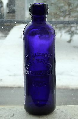 Early NORTH BROOKFIELD, MA purple HUTCH soda bottle 'Hirbour' BIMAL* FREE SHIP!