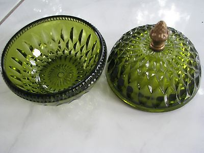 Indiana Glass - green covered dish