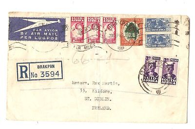 Registered Airmail Envelope South Africa Brakpan Ireland 1946