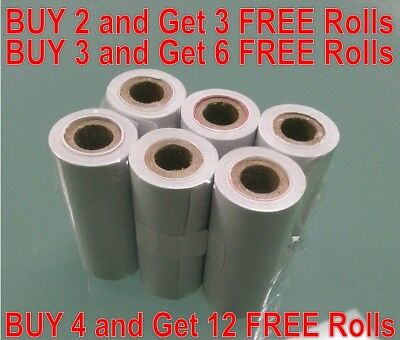 6 ROLLS CALCULATOR PRINTING PAPER LOW PROFILE 57mm wide, 25mm diameter per roll
